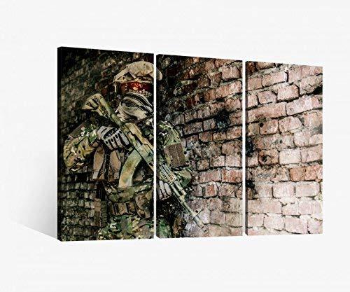 Leinwandbild 3 tlg Soldat Waffe Krieg Tarnung Spiel Gewehr Bild Bilder Leinwand Leinwandbilder Holz Wandbild mehrteilig 9W310, 3 tlg BxH:90x60cm (3Stk 30x 60cm)