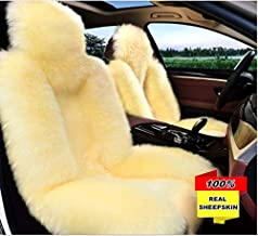 Inzoey Australia Sheepskin Car Seat Covers Winter Warm Wool Seat Cushion Cover Universal Fit for Car Interior Front Seat Beige