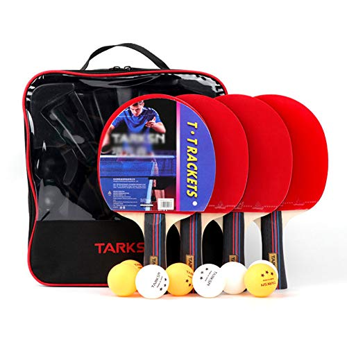 Buy Discount Pingpong Racket Set with 4 Bats and 8 Balls Easy-Room Sportout Beginner Table Tennis Ba...