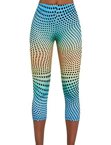 Bas Bleu Wave 70 Leggings Dame Sport Hosen 3/4 Gepunktet Normaler Bund EU, mehrfarbig,5/XL/42