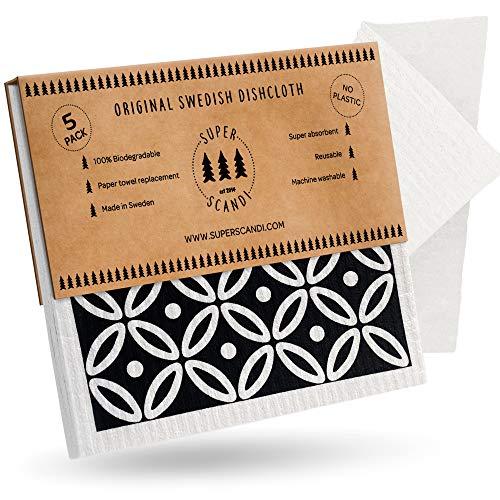 SUPERSCANDI - Paños reutilizables para vajillas, de esponja de celulosa, biodegradables, para cocina, reemplaza el papel de cocina