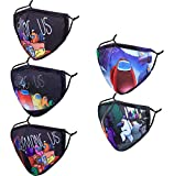 Reusable Cloth Face Cover with Nose Wire, Funny Cute Designer Adjustable Washable Breathable 3 Ply Layer Black Cotton Fabric Youth Teens mascaras para niños