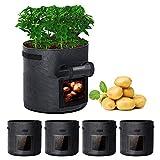 Rouffiel Potato Grow Bags, 5 Pack 7 Gallon Planting Pots with Velcro...