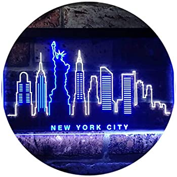 ADVPRO New York City Skyline Silhouette Dual Color LED Neon Sign White & Blue 16  x 12  st6s43-i3275-wb