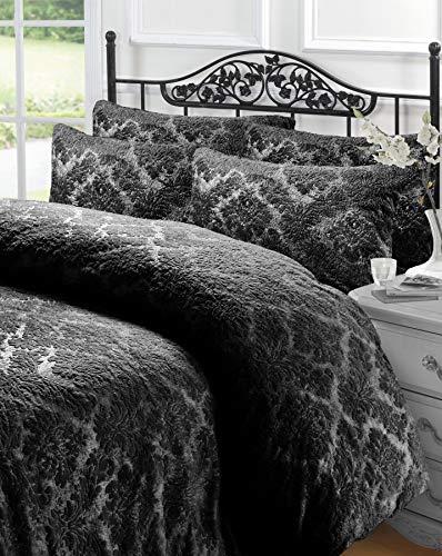Lyallpur Embossed Teddy Sherpa Fleece Damask Warm Soft Duvet Cover Set with Pillow Cases (Black, Super King)