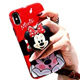 3D Cute Cartoon Soft Silicone Protector Case Gel Shockproof Phone Cover & Hand Holder Bracket Stand ~ Estuche Fundas Cobertor (Minnie, iPhone 8 Plus)