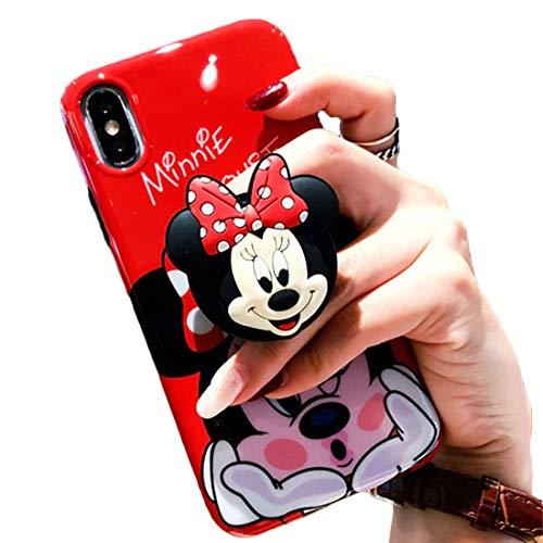 WwWSuppliers 3D Cute Cartoon Soft Silicone Protector Case Gel Shockproof Phone Cover & Hand Holder Bracket Stand ~ Estuche Fundas Cobertor (Minnie, iPhone 11 Pro 5.8')