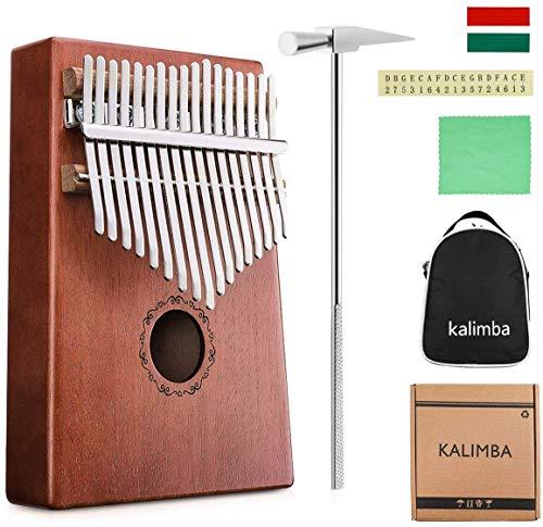 Kalimba Instrumento, Kalimba Thumb Piano 17 Teclas Madera Melocotón Core17 llaves Musical Instrumento Para Principiantes y Niños, Con...