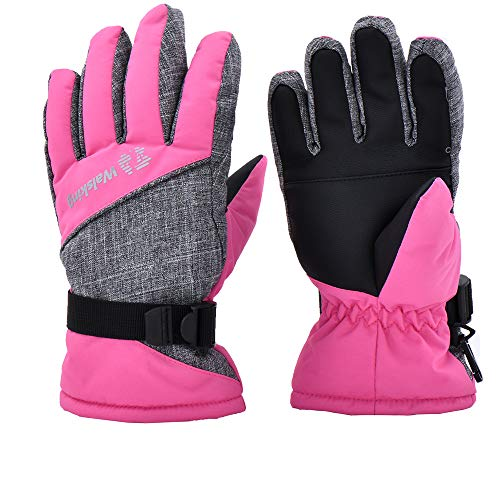 Walsking Kids Winter Snow&Ski Gloves-Youth Thinsulate Waterproof Cold Weather Gloves for Skiing,Snowboarding,Shoveling-Fits Toddlers,Junior Boys and Girls, Pink, Medium(Fits:9~12years old)