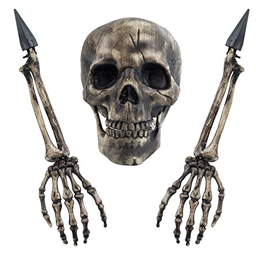 Sunnyglade Realistic Skeleton Stakes Halloween Decoration Scary Ground Breaker Skull and Skeleton for Outdoor Yard Lawn Stake Garden Graveyard Decoration