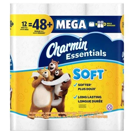 Charmin Essentials Soft Toilet Paper 12 Mega Value Rolls
