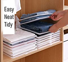 Closet Mess Killer l Foldable Stackable Folded T-Shirt Clothing Organizer l Fold Sort Laundry System l For Closets, Drawers, Dresser, Shelves, Suitcase, Wardrobe, Cabinets l Small (Tshirts), Pack of 5