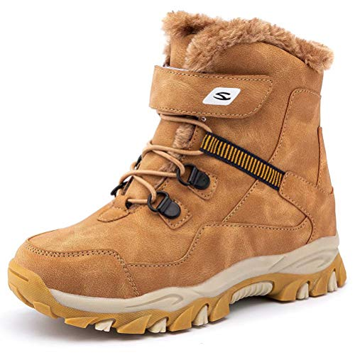 GUBARUN Boys Snow Boots Kids Hiking Boots Warm Shoes Slip Resistant Warterproof(Brown-12 Little Kid)