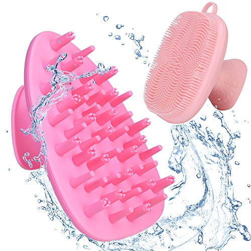 Kopfhaut Massage Bürste 2pcs Silikon Manuelle Gesichtsreinigungsbürsten, Silikon Haarbürste für Kopfmassage, Slicone Make-up-Reinigungsbürste