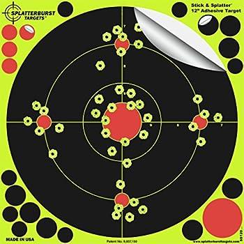 Splatterburst Targets -12 inch Adhesive Stick & Splatter Reactive Shooting Targets - Gun - Rifle - Pistol - Airsoft - BB Gun - Pellet Gun - Air Rifle  10 Pack