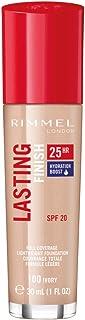 Rimmel London Lasting Finish 25 Hour Foundation, Full Coverage Formula with SPF 20, 100 Ivory, 30 ml