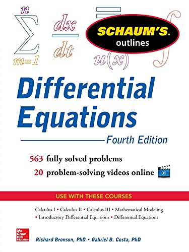 Compare Textbook Prices for Schaum's Outline of Differential Equations,  Schaum's Outlines 4 Edition ISBN 9780071824859 by Bronson, Richard,Costa, Gabriel B.