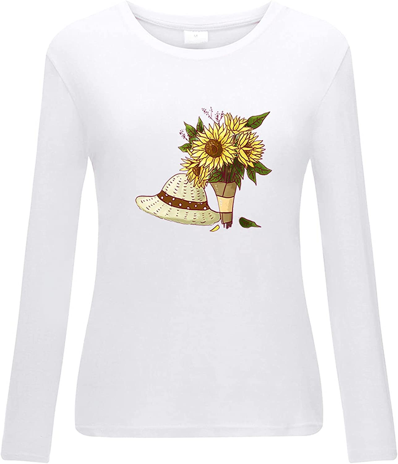 5665 Womens Sweatshirt Plus Size Tshirts Fall Long Sleeves Crewneck Sunflower Bouquet Graphic Fake 2pc Casual Beach Pullovers