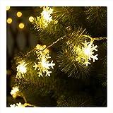 Viilich Guirnalda de luces de copo de nieve,16 pies y 50 luces LED de Navidad, funciona con 2 modos de iluminación para árbol de Navidad, jardín,dormitorio,luces de fiesta de color blanco cálido