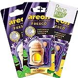 AREON auto deodorante profumo fresco 4ml–patchouli, lavanda, diffusore di profumo di vaniglia–bottiglia da appendere con copertura in legno naturale, a lunga durata, set di 3