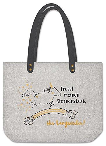 Grafik Werkstatt Shopper Leinen Damen Tasche Fresst meinen Sternenstaub, Grau
