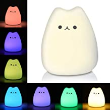 Litake LED Night Light, Battery Powered Silicone Cute Cat Carton Nursery Lights with Warm White and 7-Color Breathing Modes for Kids Baby Children (Mini Celebrity Cat)