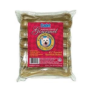 Cadet Gourmet Premium Quality Natural 4.5″ Pressed Rawhide Dog Treat Bone, 6 Pack