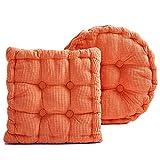 2ピースセット 房状 チェアパッド,詰め込み 遅延 チェアークッション 床 布団クッション 厚く チェアパッド パッド 入り パティオ用 ホーム オフィス オレンジ 45x45x8cm