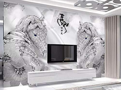 Tapete 3D Wandbild Pferdeschmuck Fototapete 3D Effekt Vliestapete Wohnzimmer Wanddeko