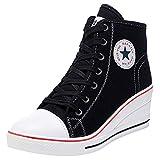 Wealsex Mujer Cuñas Zapatos De Lona High-Top Zapatos Casuales Encaje 6CM Tacón Cuña (Negro,35)