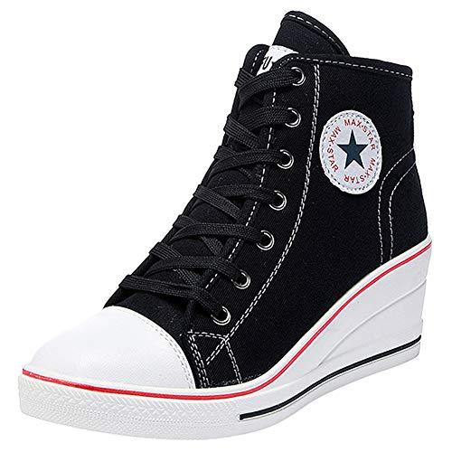 Wealsex Mujer Cuñas Zapatos De Lona High-Top Zapatos Casuales Encaje 6CM Tacón Cuña
