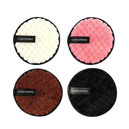tissu démaquillant réutilisable, DokFin coton demaquillant lavable, Microfibre molle à double face Eponges et lingettes démaquillantes et nettoyantes visage - instantanément avec de l'eau juste