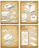 Original Steve Jobs Computer Patent Art Prints - Set of Four Photos (8x10) Unframed - Makes a Great Home or Office Decor and Gift Under $20 for Computer Geeks/Gurus and Tech Support