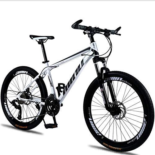 27 bicicletas de montaña para adultos de 5 pulgadas Marco de fibra de carbono ultraligero Bicicleta de montaña Trail Dual Brake Brake Hombres Mujeres Bicicleta de montaña rígida Amarillo 30 Velocidad
