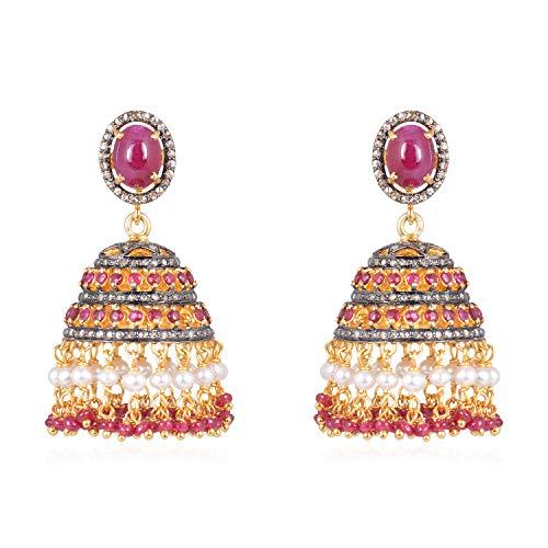 Bollywood - Pendientes colgantes con diamantes preciosos en plata de ley 925, oro de 14 quilates con rubí rojo real y diamante natural marrón de 1,37 quilates (claridad I2-I3)