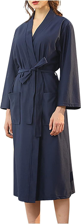 SUSHANG Men's Big & Tall Cotton Jersey Robe Unisex Pocket Breathable Knee Length Bathrobe Splicing Soft Sleepwear SPA Robe (Navy, M)