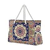 Bolsas de playa grandes Totes de lona, bolsa de hombro étnica india Paisley y flor Mandala resistente al agua para gimnasio viajes diario