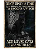 Eeypy Retro Once Upon A Time Cat Witch Vintage Poster Metal Tin Signs Iron Painting Plaque Wall Decor Bar Cat Club Novelty Funny Bathroom Toilet Paper Retro Parlor Cafe Store 8x12 Inch