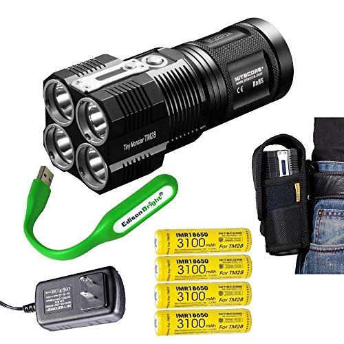 EdisonBright NITECORE TM28 Tiny Monster 6000 Lumen LED Flashlight/Searchlight with 4 X Nitecore 18650 Li-ion rechargeable batteries, USB powered reading light bundle