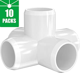 PVC Elbow Fittings 3/4 Inch, 3-Way/4-Way/5-Way PVC Connectors for SCH40 3/4 Inch PVC Pipe - Build Heavy Duty PVC Furniture and Plumbing Projects Available, White [Pack of 10]