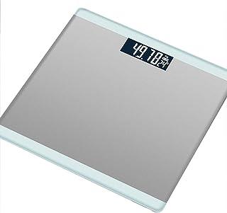 Báscula de baño de pesaje digital Báscula Báscula de peso corporal, cinta de medición corporal, pantalla de fuente de luz blanca LED, 180 kg, diseño delgado,Plata