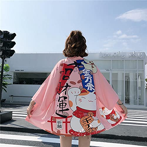 Camisa Casual Lucky Cat Cardigan Robe Japanese Style Ropa Verano Hombres Mujeres Negro Rosa Chaqueta Tops Cárdigans para (Color : Pink, Size : One Size)