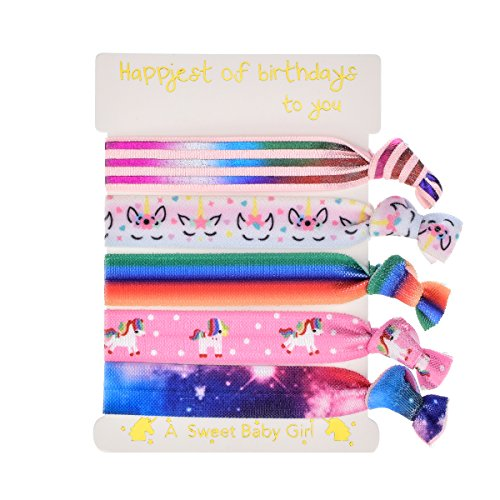 DDazzling Girls Unicorn Hair Ties Elastic Hair Ties Party Favors (Pink and Rainbow)