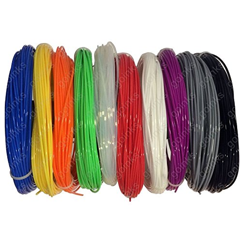 Go Inks Rainbow Pack of 3D Printer Filament - 0.5kg (500g)/ ABS/ 1.75 mm - 10 Colours