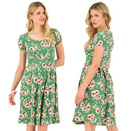 Blutsgeschwister Damen Kleid Coast Cottage Robe Midi-Kleid Sommerkleid Kurzarm Grün S
