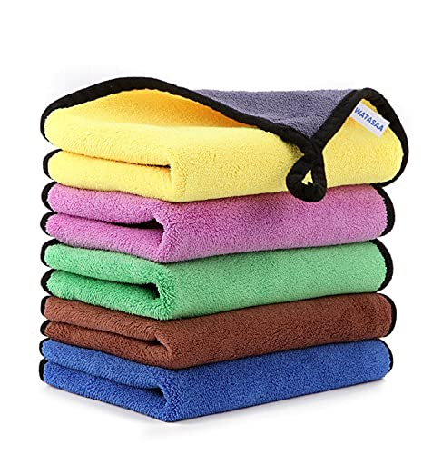 WATASAA Professional Premium Microfiber Towels for Household Cleaning and Car Washing, Highly Absorbent, Lint-Free, Streak-Free, (16 Inch x 12 Inch) (5Pcs - Yellow, Green, Purple, Blue and Brown)