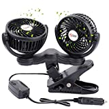 TN TONNY Dual Head Car Fan, 4 Inches Electric Car Clip Fans 360° Rotatable, Car Fan 12V Cooling Air Fan with Stepless Speed Regulation for SUV, RV, Vehicles