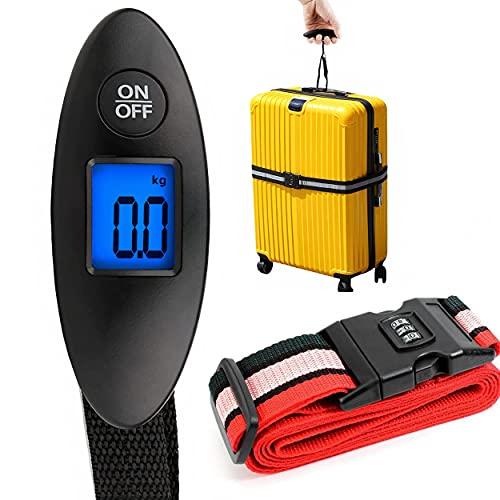 Bilancia elettronica per bagagli + 1 cinghia per bagagli, codice a 3 cifre/scomparto bagagli/bagaglio a mano/cadavere codice/borse da viaggio/organizzatore bagagli a mano/peso bagagli/accessori da via