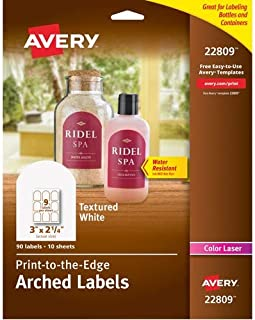 "Avery Arched Labels with Sure Feed for Laser Printers, Water Resistant, 3"" x 2.25"", 90 Labels (22809)"