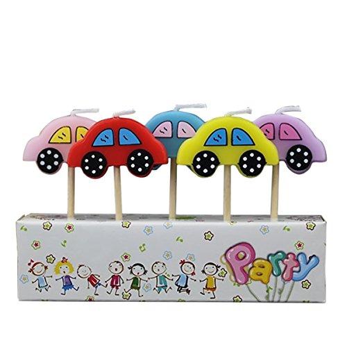 Gosear 5 Piezas Parafina Decoración de Vela de Torta Fiesta de Cumpleaños con Palo de Madera Dibujos Animados para Niños (Coche)